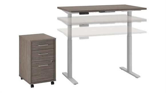 "Adjustable Height Desks & Tables Bush 48""W x 30""D Height Adjustable Standing Desk with Mobile File Cabinet"