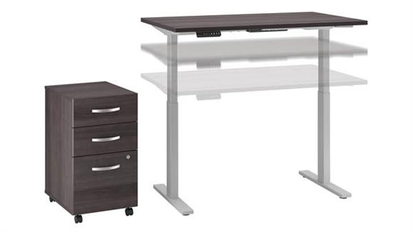 "Adjustable Height Desks & Tables Bush 48""W x 30""D Height Adjustable Standing Desk with Mobile Filing Cabinet"