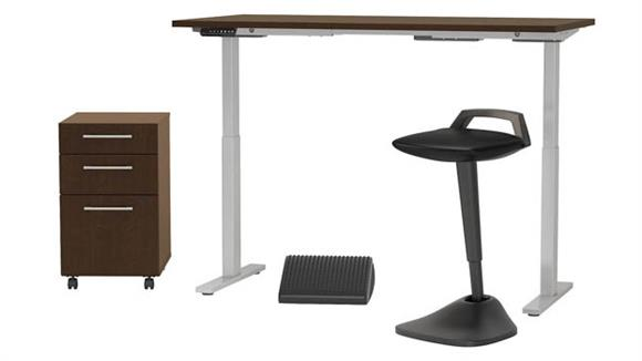 """Adjustable Height Desks & Tables Bush 60""""W x 30""""D Adjustable Standing Desk with Lean Stool, Storage and Ergonomic Accessories"""