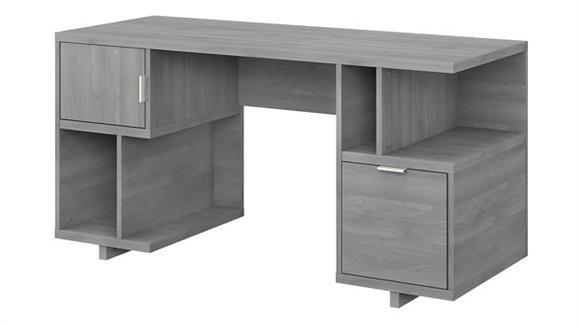 "Computer Desks Bush 60""W Computer Desk with Drawer, Storage Shelves and Door"