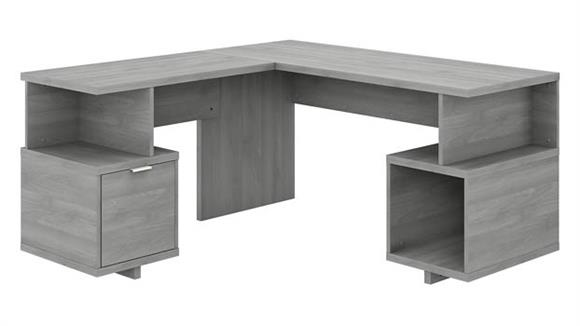 """L Shaped Desks Bush 60""""W L-Shaped Desk with Drawer and Storage Cubby"""