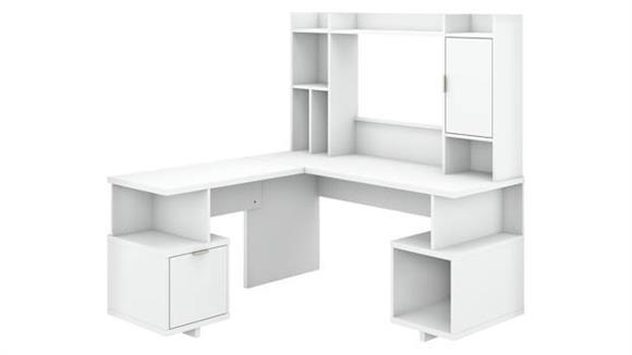 "L Shaped Desks Bush 60""W L-Shaped Desk with Hutch"