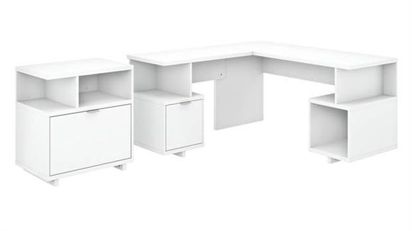 "L Shaped Desks Bush 60""W L-Shaped Desk with Lateral File Cabinet"
