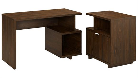 """Writing Desks Bush 48""""W Writing Desk with Lateral File Cabinet"""