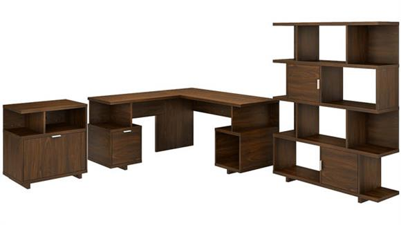 """L Shaped Desks Bush 60""""W L-Shaped Desk with Lateral File Cabinet and Bookcase"""