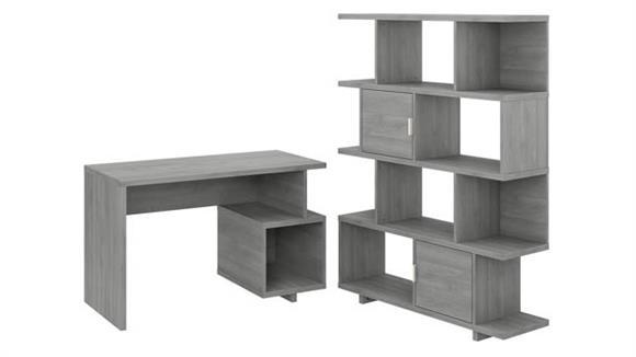 "Writing Desks Bush 48""W Writing Desk with Etagere Bookcase"