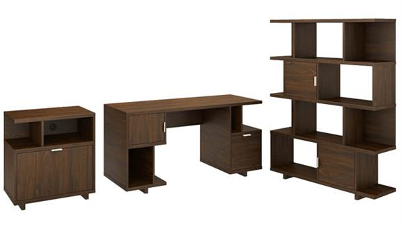 "Computer Desks Bush 60""W Computer Desk with Lateral File Cabinet and Bookcase"