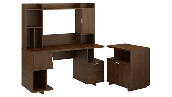 "Computer Desks Bush 60""W Computer Desk with Hutch and Lateral File Cabinet"