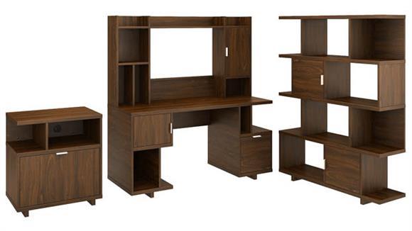 """Computer Desks Bush 60""""W Computer Desk with Hutch, Lateral File Cabinet and Bookcase"""