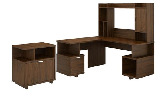 "L Shaped Desks Bush 60""W L-Shaped Desk with Hutch and Lateral File Cabinet"