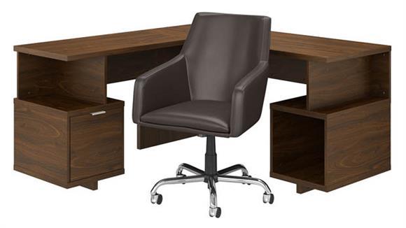 """L Shaped Desks Bush 60""""W L-Shaped Desk and Chair Set"""