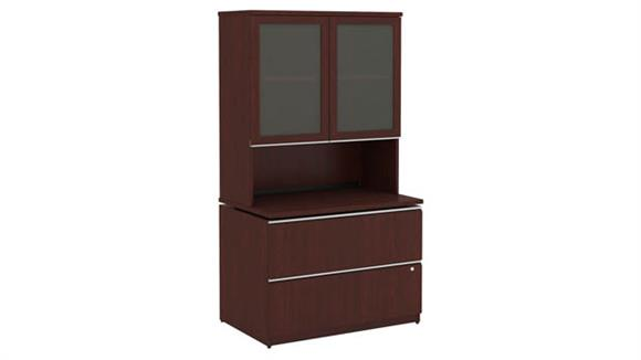 "Storage Cabinets Bush 36""W 2 Drawer File and Hutch"