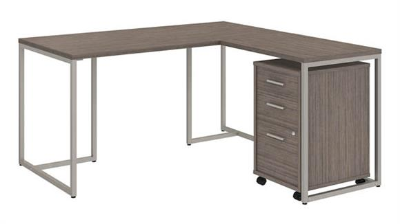 "L Shaped Desks Bush 60""W L-Shaped Desk with 30""W Return and Mobile File Cabinet"
