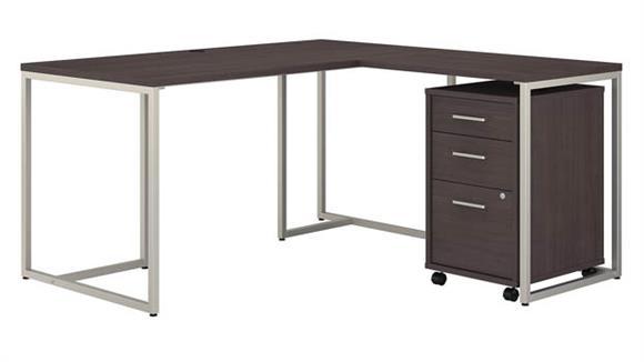 "L Shaped Desks Bush 60""W L-Shaped Desk with 30""W Return and Mobile File Cabinet"