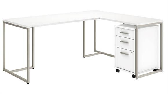 "L Shaped Desks Bush 72""W L Shaped Desk with 30""W Return and Mobile File Cabinet"