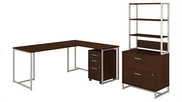 "L Shaped Desks Bush 72""W L-Shaped Desk with 30""W Return, File Cabinets and Hutch"