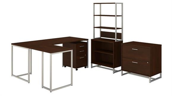 "L Shaped Desks Bush 72""W L-Shaped Desk, Mobile File Cabinet, Lateral File Cabinet, Bookcase Cabinet with Hutch"