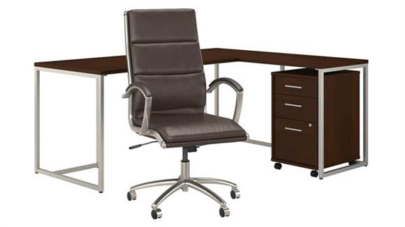 """L Shaped Desks Bush 72""""W L-Shaped Desk with Mobile File Cabinet and High Back Office Chair"""