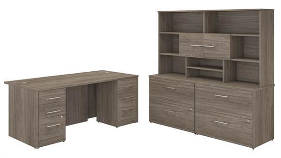 "Executive Desks Bush 72""W x 36""D Executive Desk with 2 -3 Drawer Vertical File Cabinets -Assembled, 2 - 2 Drawer Lateral File Cabinets -Assembled, and Hutch"