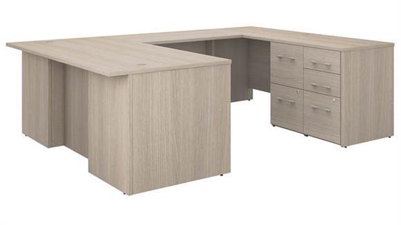 "U Shaped Desks Bush 72""W U-Shaped Executive Desk with 3 Drawer File Cabinet - Assembled, and 2 Drawer File Cabinet - Assembled"
