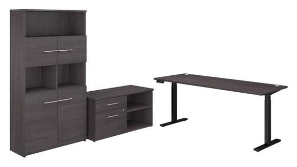 """Adjustable Height Desks & Tables Bush 72""""W Height Adjustable Standing Desk with Storage File Drawer - Assembled, and Bookcase"""