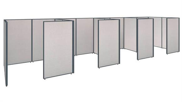 "Office Panels & Partitions Bush 288""W x 72""D x 66""H 4 Person Closed Cubicle Configuration"