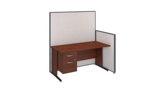 "Workstations & Cubicles Bush 60""W C-Leg Desk with 3/4 Pedestal and ProPanels"