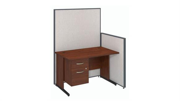 "Workstations & Cubicles Bush 48""W C-Leg Desk with 3/4 Pedestal and ProPanels"