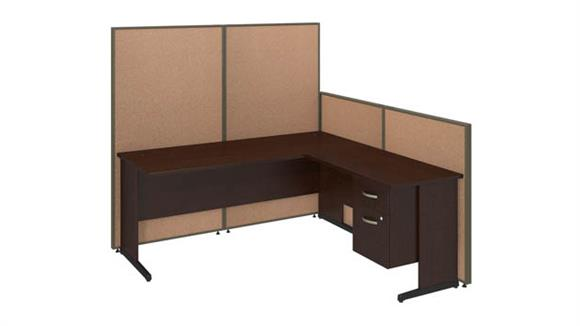"Workstations & Cubicles Bush 72""W C-Leg L-Desk with 3/4 Pedestal and ProPanels"