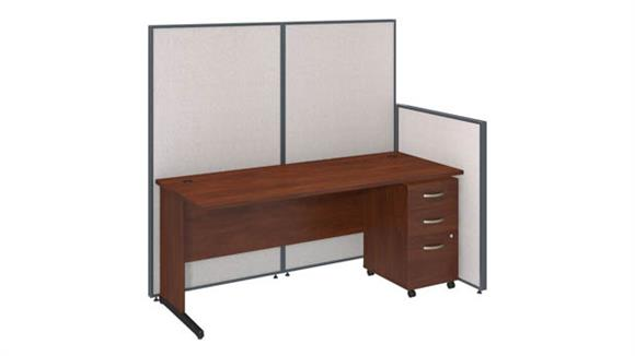 "Workstations & Cubicles Bush 72""W C-Leg Desk and 3 Drawer Mobile Pedestal with ProPanels"