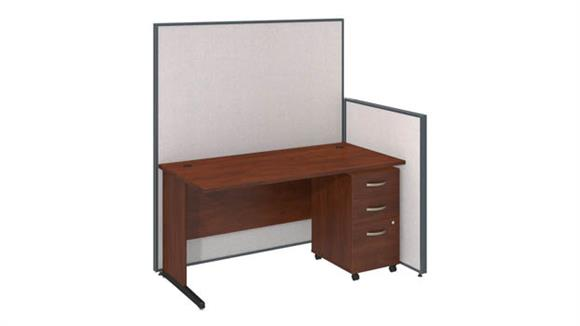"Workstations & Cubicles Bush 60""W C-Leg Desk and 3 Drawer Mobile Pedestal with ProPanels"