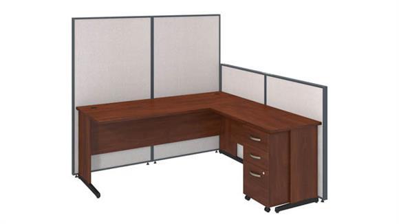 "Workstations & Cubicles Bush 72""W C-Leg L-Desk and 3 Drawer Mobile Pedestal with ProPanels"