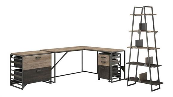 "L Shaped Desks Bush 62""W L Shaped Desk with 37""W Return, Bookshelf and File Cabinets"