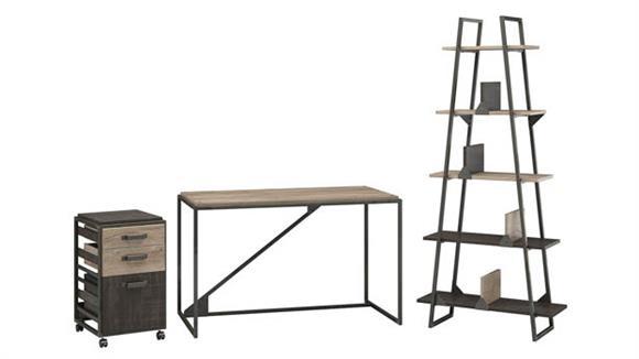 "Computer Desks Bush 50""W Industrial Desk with A-Frame Bookshelf and Mobile File Cabinet"