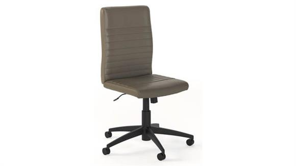 Office Chairs Bush Mid Back Ribbed Leather Office Chair