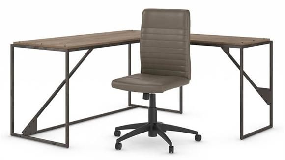 "L Shaped Desks Bush 62""W L Shaped Desk with Mid Back Ribbed Leather Office Chair"