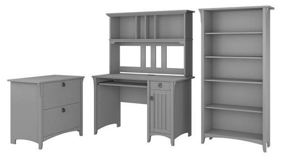Computer Desks Bush Mission Desk with Hutch, Lateral File Cabinet and 5 Shelf Bookcase