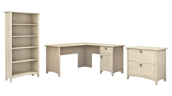 """L Shaped Desks Bush 60""""W L Shaped Desk with Lateral File Cabinet and 5 Shelf Bookcase"""