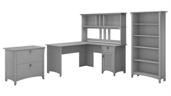 "L Shaped Desks Bush 60""W L Shaped Desk with Hutch, Lateral File Cabinet and 5 Shelf Bookcase"
