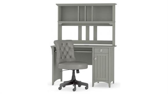 """Computer Desks Bush 48""""W Computer Desk with Hutch and Mid Back Tufted Office Chair"""