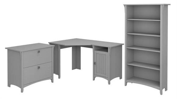 """Corner Desks Bush 55""""W Corner Desk with Lateral File Cabinet and 5 Shelf Bookcase"""