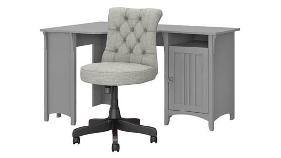 "Corner Desks Bush 55""W Corner Desk with Mid Back Tufted Office Chair"