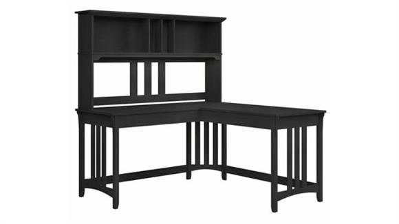 "L Shaped Desks Bush 60""W L-Shaped Writing Desk with Hutch"