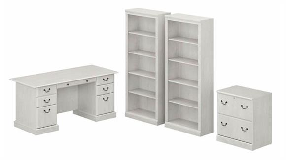 Executive Desks Bush Executive Desk with Lateral File Cabinet and Bookcase Set
