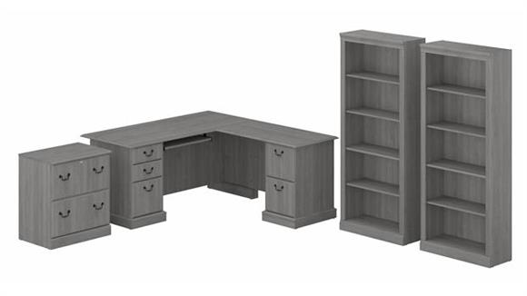 Executive Desks Bush L-Shaped Executive Desk with Lateral File Cabinet and Bookcase Set
