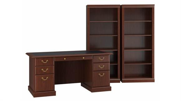 Executive Desks Bush Executive Desk and Bookcase Set