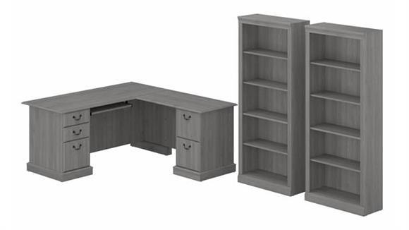 L Shaped Desks Bush L-Shaped Executive Desk and Bookcase Set