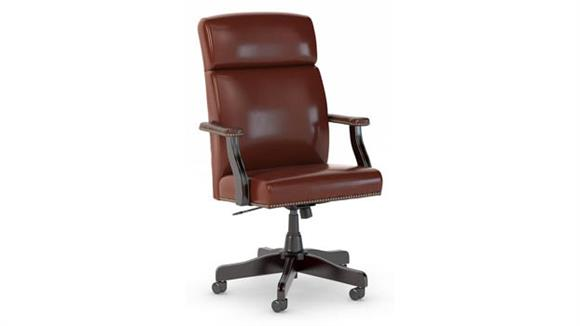 Office Chairs Bush High Back Leather Executive Office Chair with Nailhead Trim