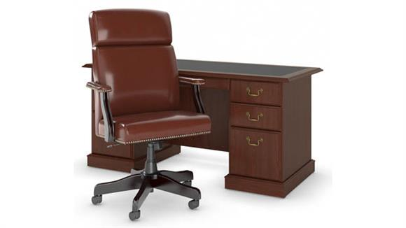 "Computer Desks Bush 66""W Executive Desk with High Back Leather Office Chair"
