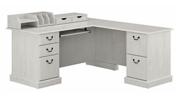 L Shaped Desks Bush L-Shaped Executive Desk with Desktop Drawers and Organizers